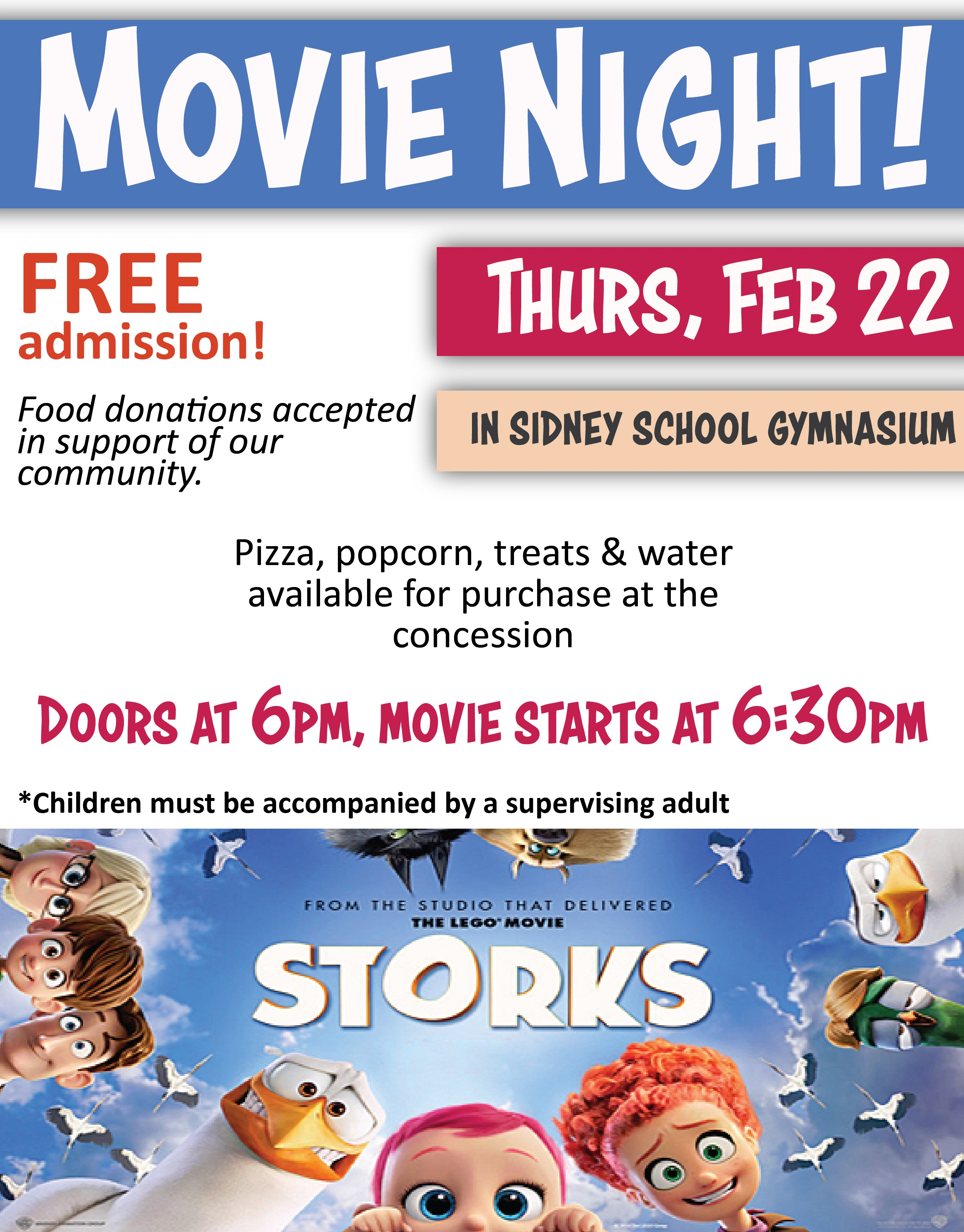 Movie Night poster - Storks. Feb 22nd, doors at 6pm, movie start at 6:30